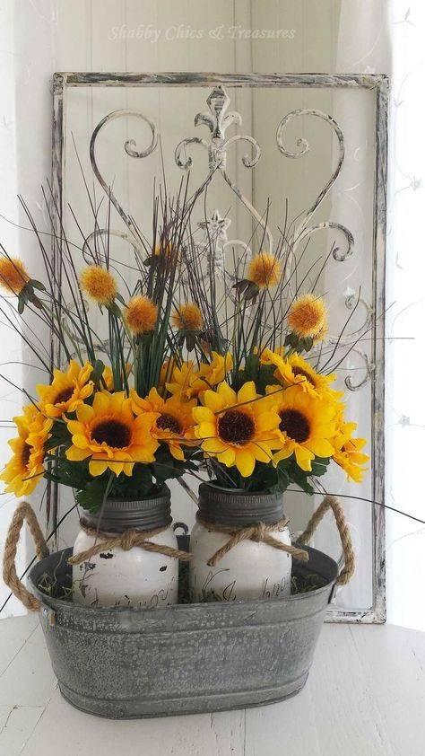 Shabby Chic Sunflower arrangement Mason Jars